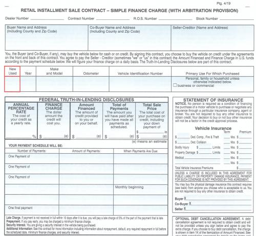 カリフォルニアの自動車売買契約書